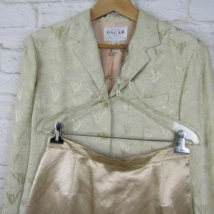 Oscar De La Renta 2pc Skirt Suit Size 10 Champagne